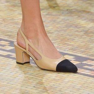 Chanel beige black two tone slingback heels